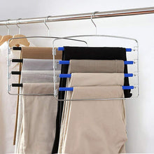 Load image into Gallery viewer, Organize with rosinking slack hangers swing arm pants 2 pack multi layers removeable stainless steel scarf slack hangers non slip clothes rack with foam padded rotatable hook closet space saving organizer