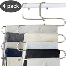 Load image into Gallery viewer, Top ds pants hangers s shape trousers hangers stainless steel clothes hangers closet space saving for pants jeans scarf hanging silver 4 pack with 10 clips