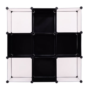 Buy now tangkula cube storage organizer 9 cube bookshelf diy plastic closet cabinet modular bookcase storage shelving for bedroom living room office 43 5l x 14 6 w x 43 5h