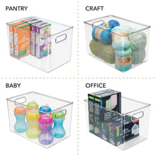 Load image into Gallery viewer, Organize with mdesign deep plastic home storage organizer bin for cube furniture shelving in office entryway closet cabinet bedroom laundry room nursery kids toy room 12 x 8 x 8 4 pack clear