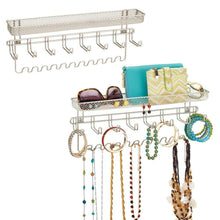 Load image into Gallery viewer, Discover the mdesign decorative metal closet wall mount jewelry accessory organizer for storage of necklaces bracelets rings earrings sunglasses wallets 8 large 11 small hooks 1 basket 2 pack satin
