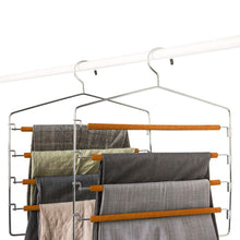 Load image into Gallery viewer, Explore takoyi clothes pants hangers space saving non slip trouser hangers stainless steel multi layer metal pant hangers foam padded swing arm pants hangers closet storage organizer orange 4 pack
