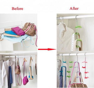 Kitchen louise maelys 3 packs hanger rack 4 hooks closet organizer for handbags scarves ties belts 360 degree rotating