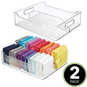 Shop for mdesign plastic closet storage bin with handles divided organizer for shirts scarves bpa free 14 5 long 2 pack clear