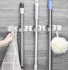 Buy now broom mop holder stainless steel heavy duty wall mount storage organizer tools hanger with 3 racks 4 hooks for kitchen bathroom closet garage office garden 3 racks 4 hooks