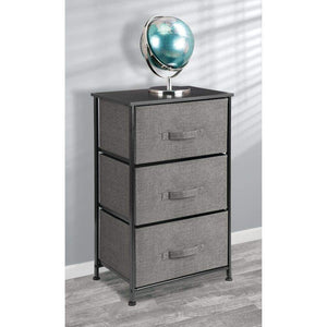 Featured mdesign vertical dresser storage tower sturdy steel frame wood top easy pull fabric bins organizer unit for bedroom hallway entryway closets textured print 3 drawers charcoal gray black