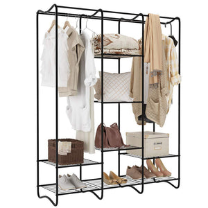 Budget friendly langria large free standing closet garment rack made of sturdy iron with spacious storage space 8 shelves clothes hanging rods heavy duty clothes organizer for bedroom entryway black