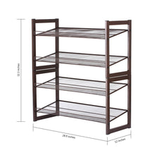 Load image into Gallery viewer, Featured rackaphile 4 tier stackable metal shoe rack mesh utility shoe storage organizer shelf for closet bedroom entryway 32 3 28 9 12 bronze