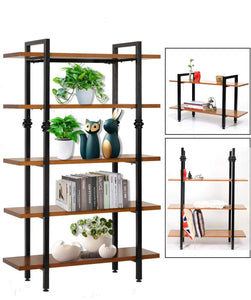 Budget sprawl 5 tier vintage bookshelf free standing multi purpose open wooden book storage shelves ladder shelf closet organizer