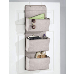 Storage mdesign a568 soft fabric over the door hanging storage organizer with 3 large pockets for closets in bedrooms hallway entryway mudroom hooks included textured print 2 pack linen tan