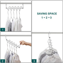Load image into Gallery viewer, Shop here meetu magic cloth hanger wonder space saving hangers metal closet organizer for closet wardrobe closet organization closet system pack of 4