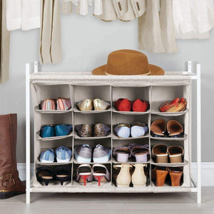 Products mdesign soft fabric shoe rack holder organizer 16 cube storage shelf for closet entryway mudroom garage kids playroom metal frame easy assembly closet organization linen white