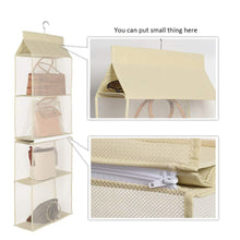 Load image into Gallery viewer, Budget hanging purse handbag organizer handbag organizer for purses homewares nonwoven 4 pockets hanging closet storage bag holder wardrobe closet space saving organizers system for living room bedroom use