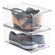 Load image into Gallery viewer, Save on mdesign stackable closet plastic storage bin box with lid container for organizing mens and womens shoes booties pumps sandals wedges flats heels and accessories 5 high 6 pack clear