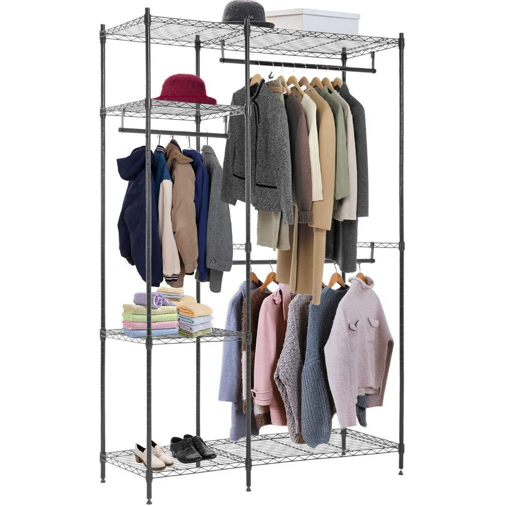 Amazon best hanging closet organizer and storage heavy duty clothes rack sturdy 3 rod garment rack large with wire shelving height adjustable commercial grade metal clothes stand rack for bedroom cloakroom black