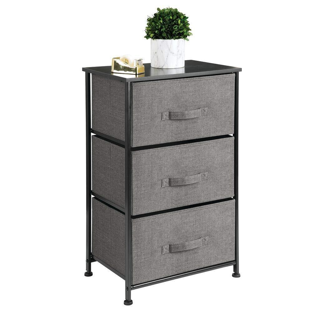 Discover mdesign vertical dresser storage tower sturdy steel frame wood top easy pull fabric bins organizer unit for bedroom hallway entryway closets textured print 3 drawers charcoal gray black