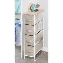 Load image into Gallery viewer, Shop here mdesign narrow vertical dresser storage tower sturdy frame wood top easy pull fabric bins organizer unit for bedroom hallway entryway closets textured print 4 drawers light tan white
