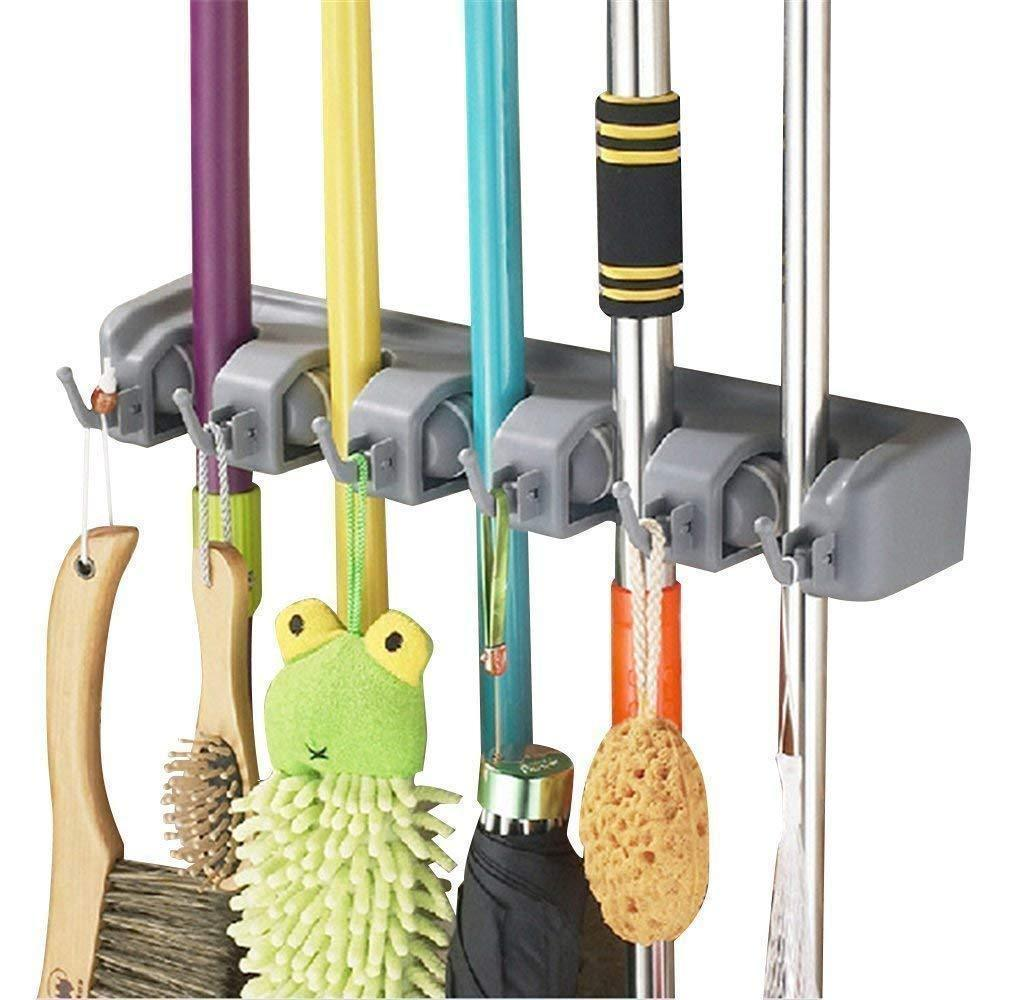 KMIKE Broom Holder, Mop and Broom Organizer Wall Mount with 5 Slots and 6 Hooks, Ideal Broom Hanger Solution for Kitchen, Garage, Warehouse.