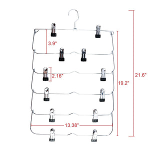 Great homend 6 tier skirt hangers foldable pants hangers closet organizer stainless steel fold up space saving hangers 5 pack 1