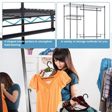 Load image into Gallery viewer, Budget hanging closet organizer and storage heavy duty clothes rack sturdy 3 rod garment rack large with wire shelving height adjustable commercial grade metal clothes stand rack for bedroom cloakroom black