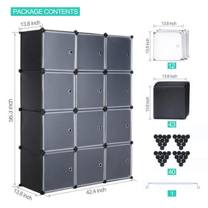 Get robolife 12 cubes organizer diy closet organizer shelving storage cabinet transparent door wardrobe for clothes shoes toys