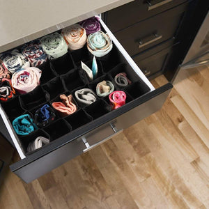 Heavy duty mifxin underwear socks storage organizer drawer divider 30 cell foldable closet drawer organizer storage box bin for socks bras underwear ties with dust moisture proof cover black