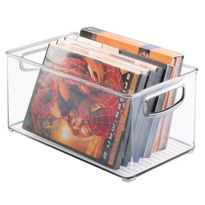 Home mdesign plastic stackable household storage organizer container bin box with handles for media consoles closets cabinets holds dvds video games gaming accessories head sets 4 pack clear