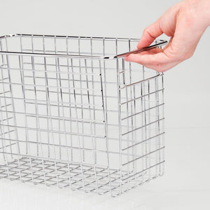 Top mdesign household metal wire storage organizer bins basket with handles for kitchen cabinets pantry bathroom landry room closets garage 4 pack 12 x 6 x 8 chrome