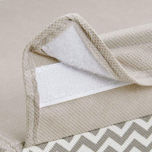 Load image into Gallery viewer, Purchase mdesign soft fabric over closet shelving hanging storage organizer with removable drawer for closets in bedrooms hallway entryway mudroom chevron zig zag print with solid trim taupe natural
