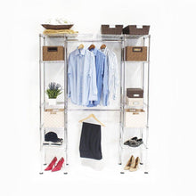 Load image into Gallery viewer, Home seville classics double rod expandable clothes rack closet organizer system 58 to 83 w x 14 d x 72 ultrazinc