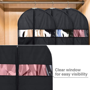 Home house day garment bags for storage5 pack 60 inch garment bags for travel lightweight oxford fabric suit bag for storage and travel closet washable suit cover for dresses suits coats