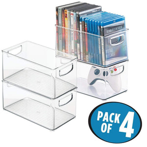 Online shopping mdesign plastic stackable household storage organizer container bin box with handles for media consoles closets cabinets holds dvds video games gaming accessories head sets 4 pack clear