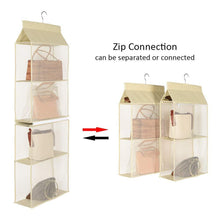 Load image into Gallery viewer, Buy hanging purse handbag organizer handbag organizer for purses homewares nonwoven 4 pockets hanging closet storage bag holder wardrobe closet space saving organizers system for living room bedroom use