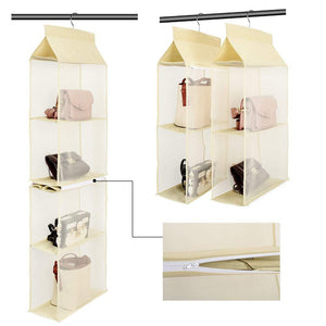 Amazon best hanging purse handbag organizer handbag organizer for purses homewares nonwoven 4 pockets hanging closet storage bag holder wardrobe closet space saving organizers system for living room bedroom use
