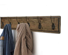 Load image into Gallery viewer, Featured argohome coat rack wall mounted wooden 27 coat hooks scroll hook 6 rustic hooks solid pine wood perfect touch for entryway bathroom closet room