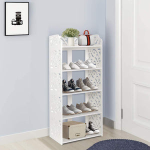Online shopping ejoyous 5 tier shoes rack white wood plastic modern space saving display shoe tower free standing shoes storage organizer closet shelves holder container for home office support hold 10 pair