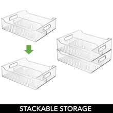 Load image into Gallery viewer, Select nice mdesign plastic closet storage bin with handles divided organizer for shirts scarves bpa free 14 5 long 2 pack clear