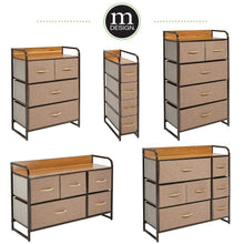 Load image into Gallery viewer, Great mdesign vertical narrow dresser storage tower sturdy steel frame wood top handles easy pull fabric bins organizer unit for bedroom hallway entryway closets 4 drawers coffee espresso