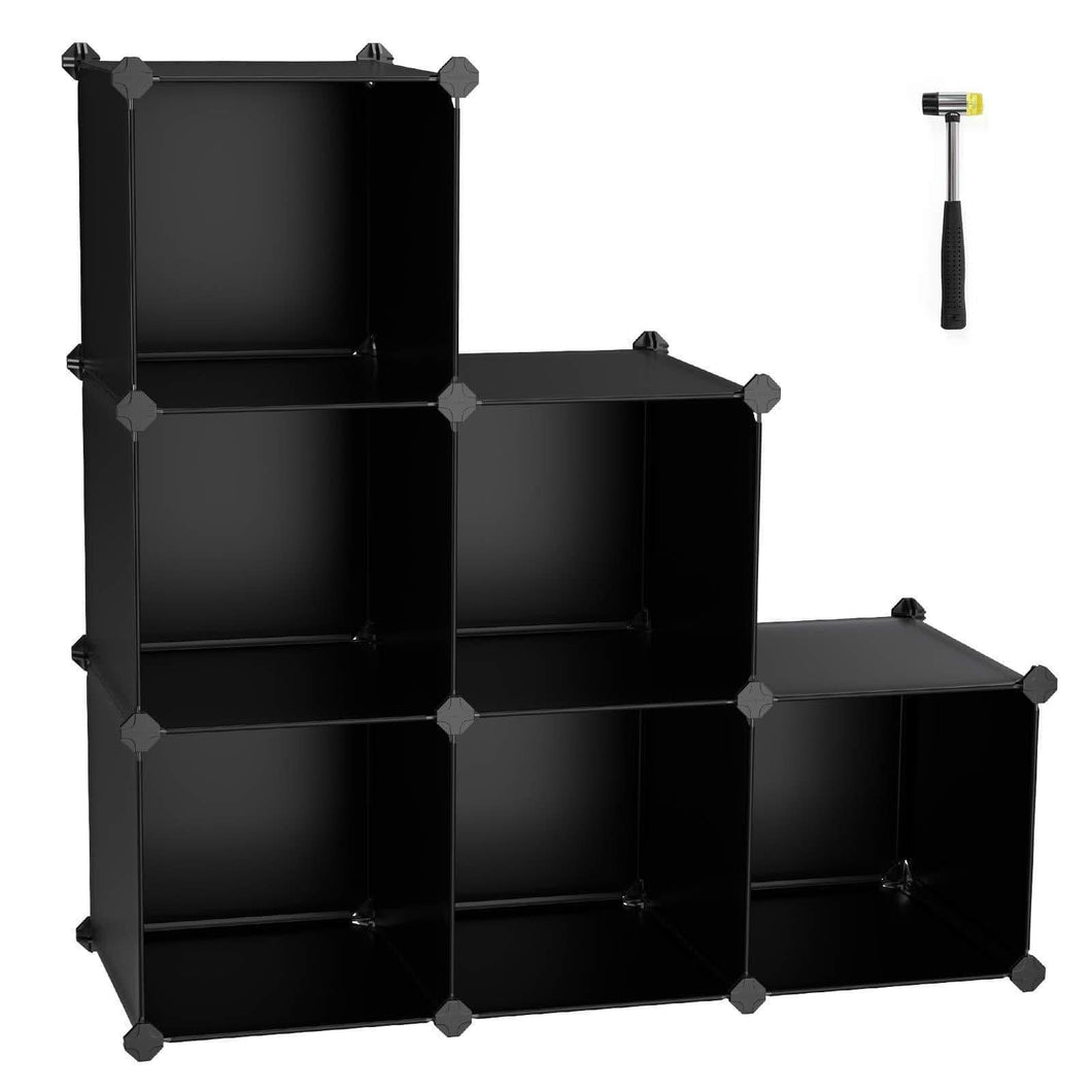 Discover the best songmics cube storage organizer 6 cube closet storage shelves diy plastic closet cabinet modular bookcase storage shelving for bedroom living room office black with rubber hammer black ulpc06h