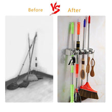 Load image into Gallery viewer, The best mop broom holder wall mounted storage rack with 5 ball slots and 6 hooks for closet rakes broom garden garage tool storageoff wihite