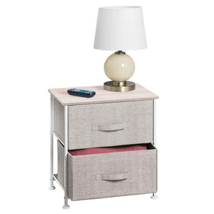 On amazon mdesign end table night stand storage tower sturdy steel frame wood top easy pull fabric bins organizer unit for bedroom hallway entryway closets textured print 2 drawers linen natural