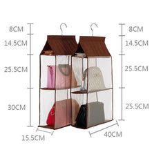 Load image into Gallery viewer, Save kingto detachable hanging handbag organizer 4 slot 2 in 1 dustproof foldable sundry wardrobe closet space saving organizers system for living room bedroom home usegrey