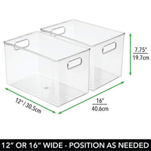 Load image into Gallery viewer, Products mdesign deep plastic home storage organizer bin for cube furniture shelving in office entryway closet cabinet bedroom laundry room nursery kids toy room 12 x 8 x 8 4 pack clear