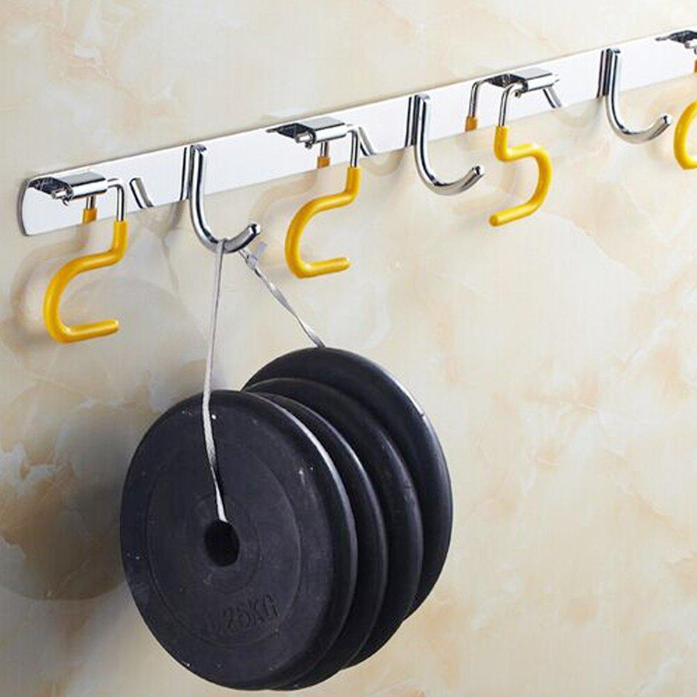 Exttlliy 304 Stainless Steel Broom Holder Organizer Multifunctional S-Style Wall Mount Mop Storage Hanger Racks (4 Positions Hooks)
