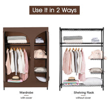 Load image into Gallery viewer, Save langria heavy duty wire shelving garment rack clothes rack portable clothes closet wardrobe compact zip closet extra large wardrobe storage rack organizer hanging rod capacity 420 lbs dark brown