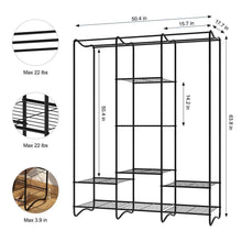 Load image into Gallery viewer, Buy langria large free standing closet garment rack made of sturdy iron with spacious storage space 8 shelves clothes hanging rods heavy duty clothes organizer for bedroom entryway black