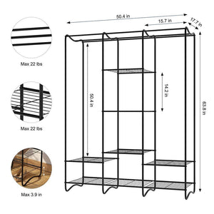Buy langria large free standing closet garment rack made of sturdy iron with spacious storage space 8 shelves clothes hanging rods heavy duty clothes organizer for bedroom entryway black