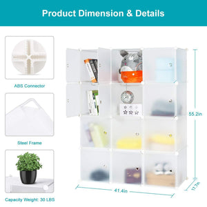Great honey home modular storage cube closet organizers portable plastic diy wardrobes cabinet shelving with easy closed doors for bedroom office kitchen garage 12 cubes white