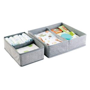 Budget mdesign soft fabric dresser drawer and closet storage organizer set for child kids room nursery playroom bedroom rectangular organizer bins with textured print set of 12 gray