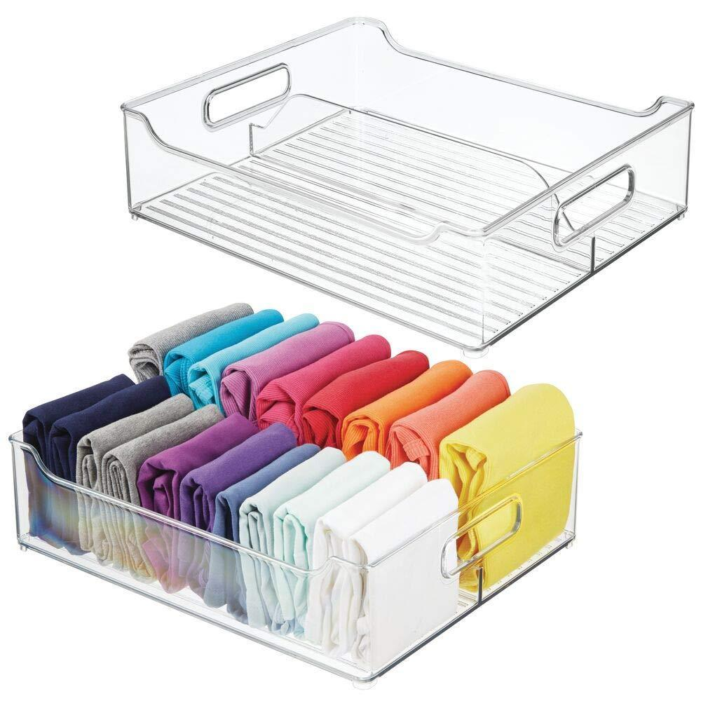 Results mdesign plastic closet storage bin with handles divided organizer for shirts scarves bpa free 14 5 long 2 pack clear
